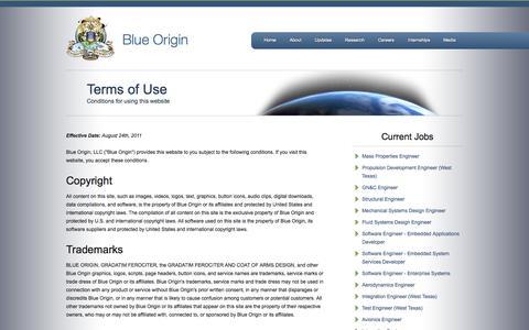 Screenshot of Terms Page blueorigin.com - Blue Origin - Terms of Use - captured Sept. 30, 2014