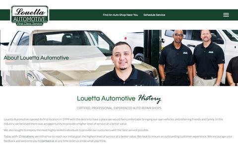 Screenshot of About Page louettaautomotive.com - Auto Repair Shop Texas, About Louetta Automotive - captured Dec. 8, 2018