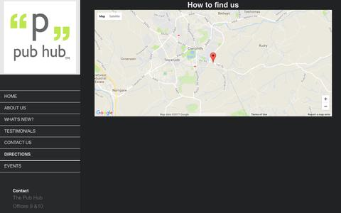 Screenshot of Maps & Directions Page thepubhub.co - The Pub Hub - Directions - captured Nov. 16, 2017
