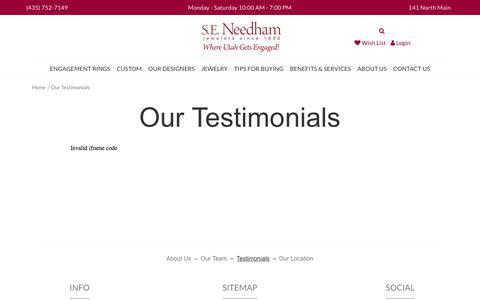 Screenshot of Testimonials Page seneedham.com - S.E. Needham:  Our Testimonials - captured Sept. 26, 2017