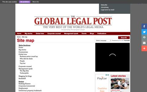 Screenshot of Site Map Page globallegalpost.com - Site map - The Global Legal Post - captured Nov. 30, 2016