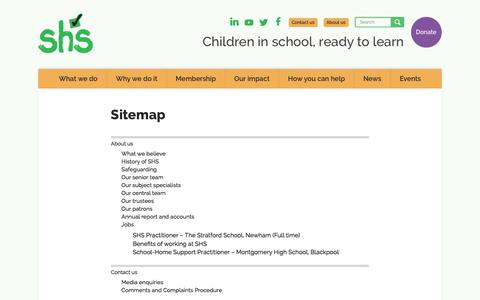 Screenshot of Site Map Page schoolhomesupport.org.uk - School-Home Support | Sitemap - captured July 27, 2018