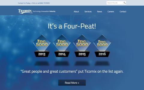 Screenshot of Home Page ticomix.com - ServiceNow, SugarCRM, Cisco, GoldMine, IT Computer Networking, Custom Software, Rockford, IL | Ticomix | Ticomix - captured Aug. 21, 2016