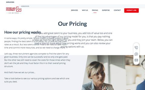 Screenshot of Pricing Page morganmckinley.com - Our Pricing | Morgan McKinley Recruitment - captured Sept. 20, 2018