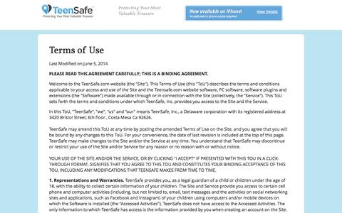 Screenshot of Terms Page teensafe.com - TeenSafe: iPhone Tracker & Cell Phone Monitoring - captured Sept. 23, 2014