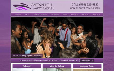 Screenshot of Home Page captloufleet.com - Capt Lou's Party Boat rents party boats on Long Island - captured Jan. 25, 2016