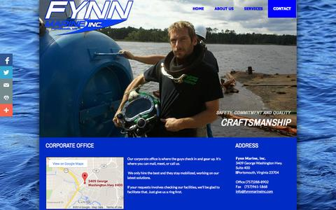 Screenshot of Contact Page fynnmarineinc.com - Contact - captured Sept. 30, 2014