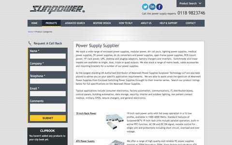 Screenshot of Products Page sunpower-uk.com - Power Supply Supplier - captured Oct. 25, 2017
