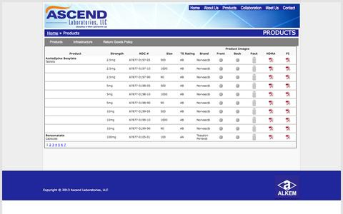 Screenshot of Products Page ascendlaboratories.com - Ascend Laboratories Products - captured Oct. 4, 2014
