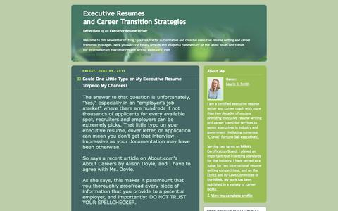 Screenshot of Home Page executive-resumes.com - Executive Resumes and Career Transition Strategies - captured June 20, 2015