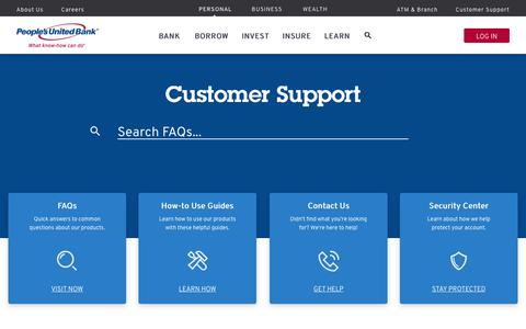 Screenshot of Support Page peoples.com - Welcome to Customer Support | People's United Bank - captured July 17, 2019