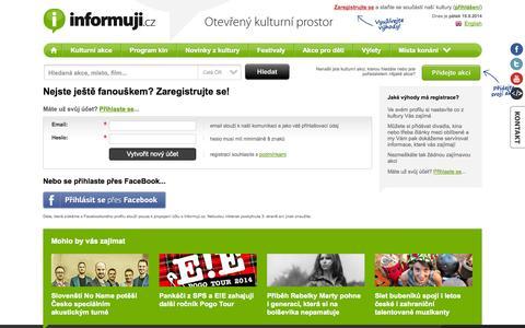 Screenshot of Signup Page informuji.cz - Registrace nového fanouška | Informuji.cz - captured Sept. 19, 2014
