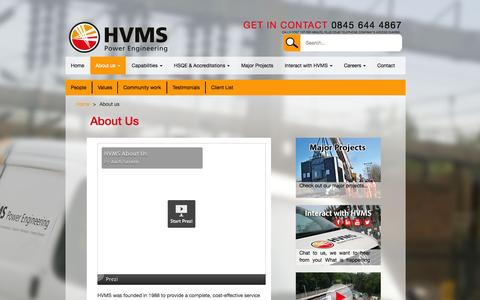Screenshot of About Page hvms.co.uk - About us - HVMS - captured July 17, 2015