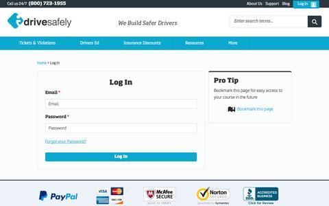 Screenshot of Login Page idrivesafely.com - I Drive Safely - Existing Student Login Page - Student Sign In - captured Oct. 20, 2015