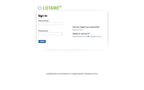 Screenshot of Login Page lotame.com - Lotame CC - captured Dec. 8, 2015