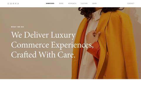 Screenshot of Services Page corra.com - Ecommerce Strategy, Design, Development, Support | Corra - captured Feb. 8, 2019
