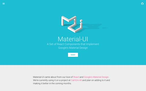 Screenshot of Home Page material-ui.com - Material-UI - captured March 1, 2016