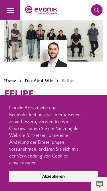 Screenshot of Team Page  evonik.com - Felipe                                                                - Evonik Careers