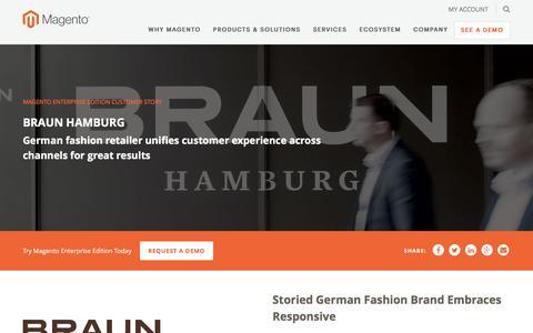Screenshot of Case Studies Page magento.com - Braun Hamburg | Magento - captured March 9, 2017