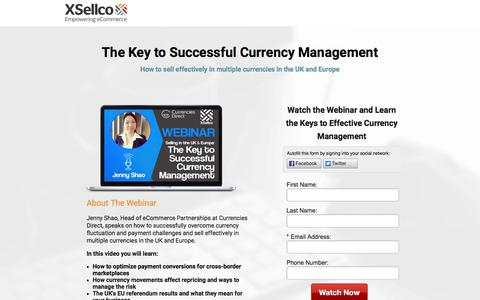 Screenshot of Landing Page xsellco.com - The Key to Successful Currency Management [Webinar] - captured July 26, 2016