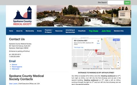 Screenshot of Contact Page spcms.org - Spokane County Medical Society - captured Dec. 1, 2016