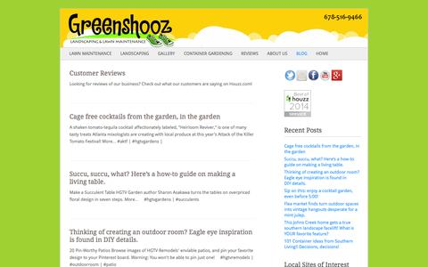 Screenshot of Blog greenshooz.com - Blog | Greenshooz Landscaping & Lawn Maintenance | Cumming, GA | Greenshooz offers residential and commercial landscaping and lawn care maintenance to the North Atlanta communities of Cumming, Alpharetta, Milton, and Johns Creek. Check out our photo  - captured Sept. 30, 2014