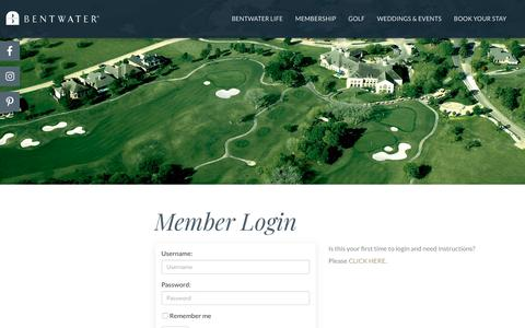 Screenshot of Login Page bentwater.com - Bentwater Yacht & Country Club Member Login - captured Oct. 5, 2018