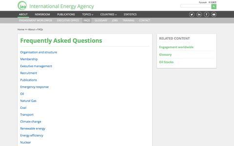 Screenshot of FAQ Page iea.org - FAQs - captured Nov. 18, 2016