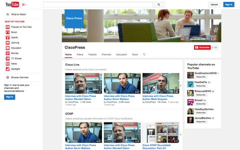 Screenshot of YouTube Page youtube.com - CiscoPress  - YouTube - captured Oct. 22, 2014