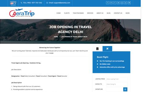 Screenshot of Jobs Page aeratrip.com - Travel Agency Jobs in Delhi - Travel Agent Opening in Delhi - AeraTrip India - captured May 24, 2016