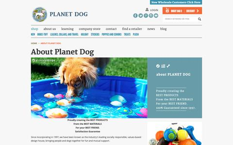 Screenshot of About Page planetdog.com - About Planet Dog - Creators of the BEST Products for your  dog - captured Sept. 28, 2018