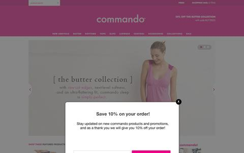 "Screenshot of Home Page wearcommando.com - Welcome to the home of the original ""invisible"" underwear & legwear loved by celebrities, fashion editors and hip chicks everywhere! — commando® - captured Jan. 22, 2016"