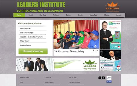 Screenshot of Home Page leaders-i.com - Leaders Institute for Training and Development - captured Oct. 2, 2014