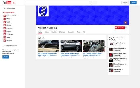 Screenshot of YouTube Page youtube.com - Autobahn Leasing  - YouTube - captured Oct. 23, 2014