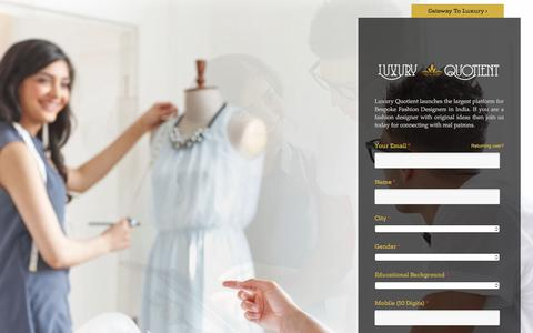 Screenshot of Signup Page luxuryquotient.com - Bespoke Fashion Designers | By Luxury Quotient - captured Sept. 20, 2017