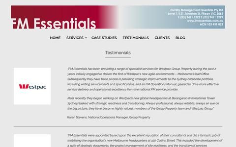 Screenshot of Testimonials Page fmessentials.com.au - Testimonials - FM Essentials - captured June 5, 2017