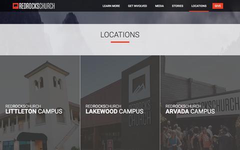 Screenshot of Locations Page redrockschurch.com - Locations   Red Rocks Church - captured July 13, 2018