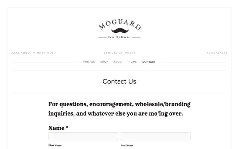 Screenshot of Contact Page themoguard.com - Contact — The MoGuard - Mustache Guard Drink Attachment - captured May 21, 2016