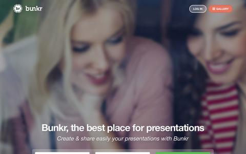 Screenshot of Home Page bunkr.me - Bunkr is the best place for presentations - captured Sept. 12, 2014
