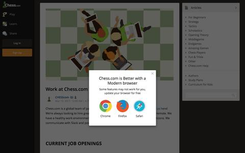 Screenshot of Jobs Page chess.com - Work at Chess.com - Chess.com - captured March 16, 2017