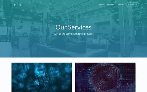 Screenshot of Services Page iinix.com - Our Services   iinix - Your Cyber Security Partners - captured Oct. 13, 2018