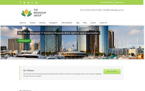Screenshot of Home Page broadleafgroup.com - The Broadleaf Group | Citrix, Cisco, VMware, Microsoft reseller - captured Oct. 4, 2014