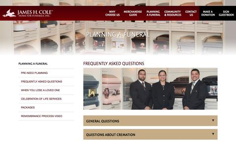 Screenshot of FAQ Page jameshcole.com - James H. Cole Home for Funerals, Inc. | Frequently Asked Questions - captured Nov. 26, 2016
