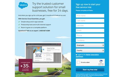 Screenshot of Trial Page salesforce.com - Service Essentials : Free Trial - Salesforce.com - captured Oct. 9, 2018
