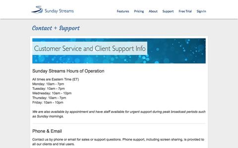 Screenshot of Support Page sundaystreams.com - Sunday Streams | Contact + Support - captured Nov. 26, 2015