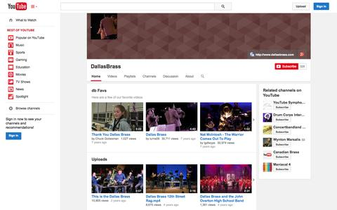 Screenshot of YouTube Page youtube.com - DallasBrass  - YouTube - captured Oct. 23, 2014