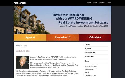 Screenshot of About Page proapod.com - Real Estate Investment Software | About Us | ProAPOD - captured Nov. 12, 2016