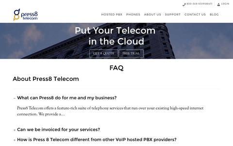 Screenshot of FAQ Page press8.com - FAQ · Press8 Telecom - captured Nov. 11, 2016