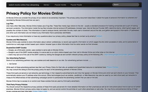 Screenshot of Privacy Page mvtvmovie.info - Privacy Policy for Movies Online - captured Nov. 14, 2016