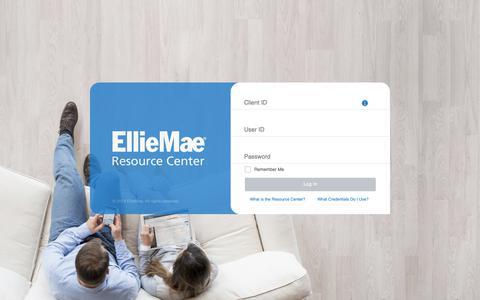 Screenshot of Landing Page elliemae.com - Resource Center: Log In - captured April 22, 2019